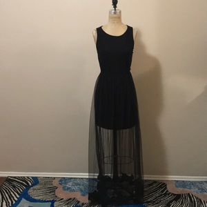 Forever 21 Black Sheer Maci Dress Lace Mesh